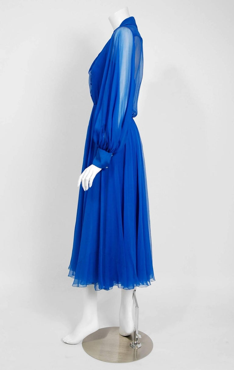 Vintage 1973 Christian Dior Couture Sapphire Blue Chiffon Billow-Sleeve Dress In Good Condition For Sale In Beverly Hills, CA