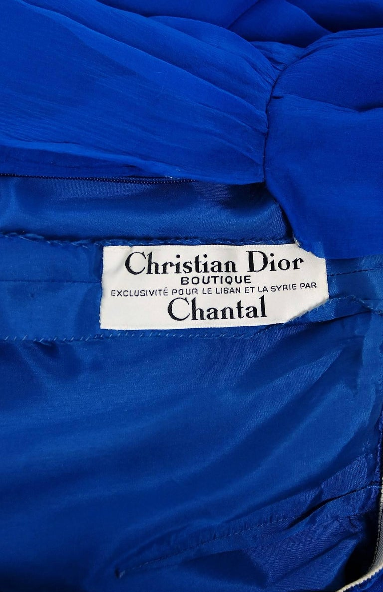 Vintage 1973 Christian Dior Couture Sapphire Blue Chiffon Billow-Sleeve Dress For Sale 1