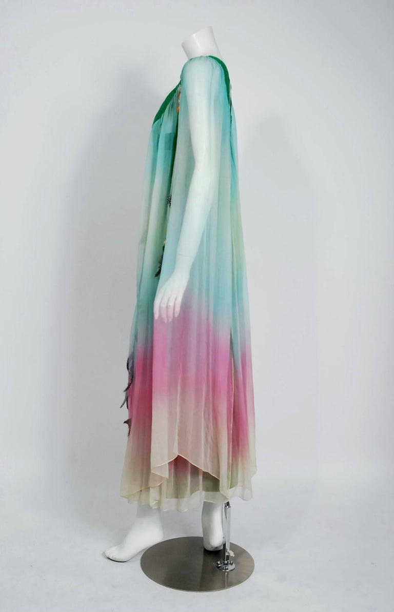 1975 Gina Fratini Elizabeth Taylor Wedding Ombre Design Chiffon Bohemian Dress 3
