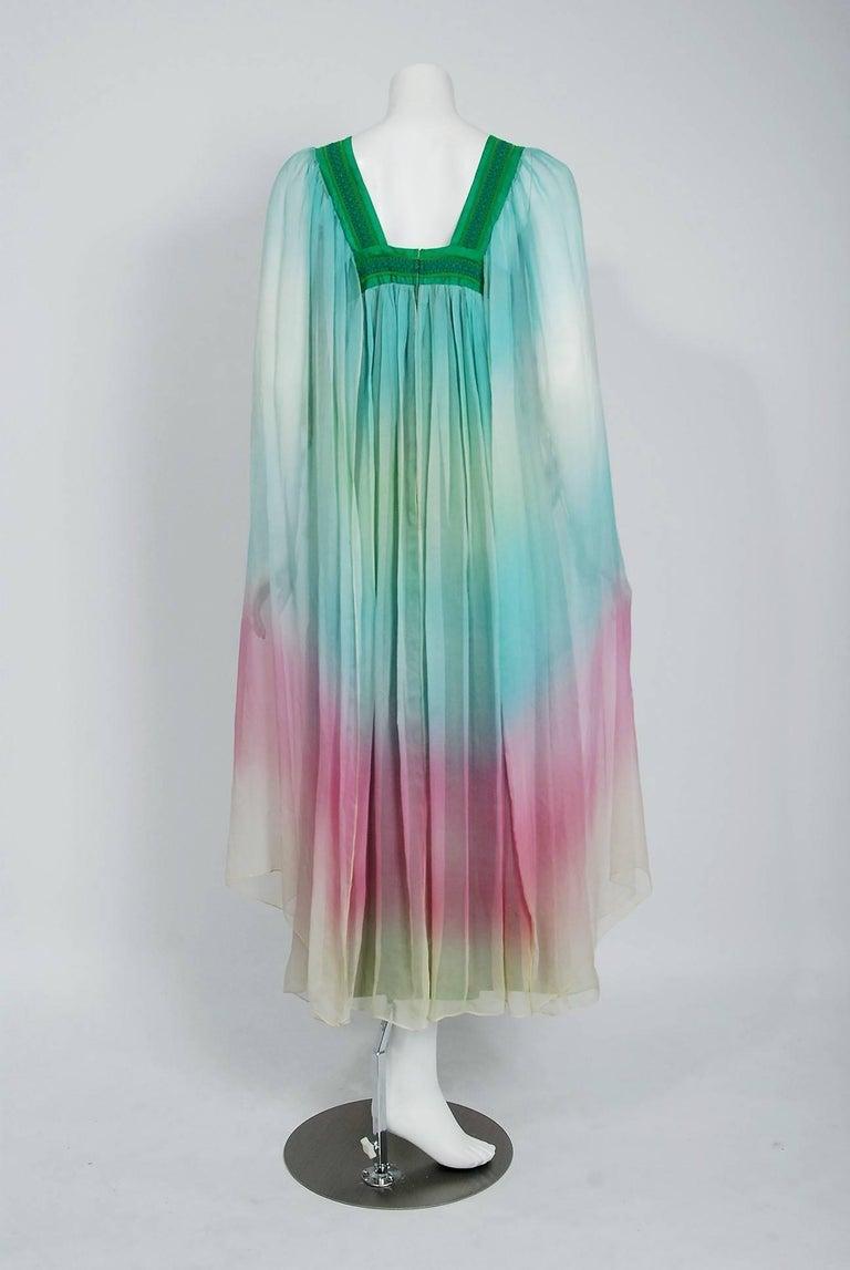 1975 Gina Fratini Elizabeth Taylor Wedding Ombre Design Chiffon Bohemian Dress 4