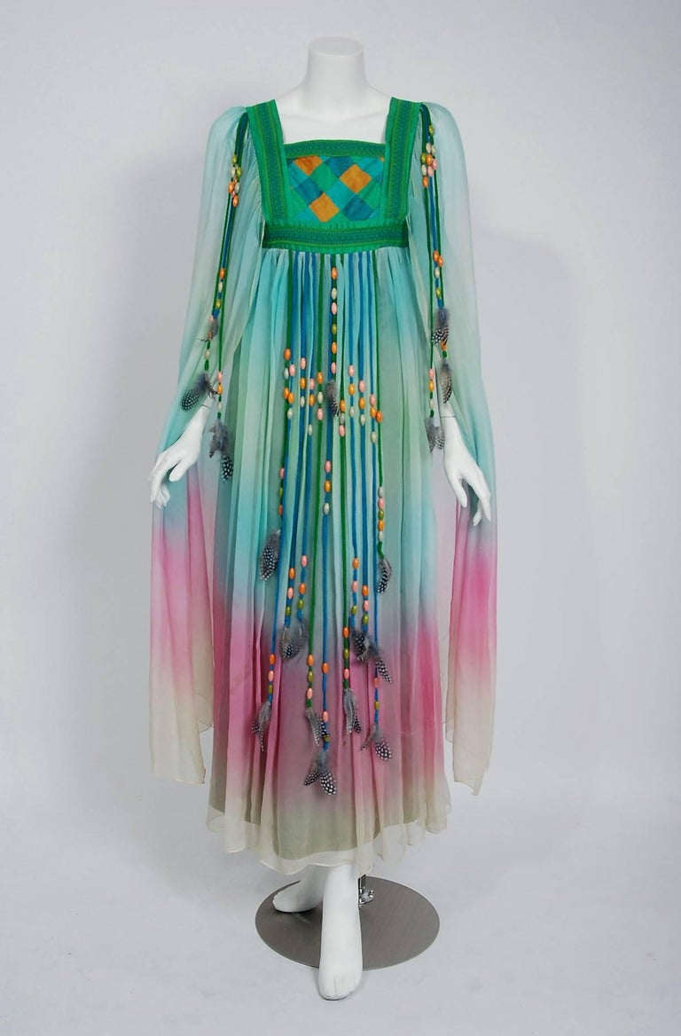 Breathtaking 1975 Gina Fratini Couture rainbow ombre silk-chiffon caftan dress which happened to also be Elizabeth Taylor's choice design for her wedding to Richard Burton.   Gina Fratini, a British designer who was influenced by her childhood in