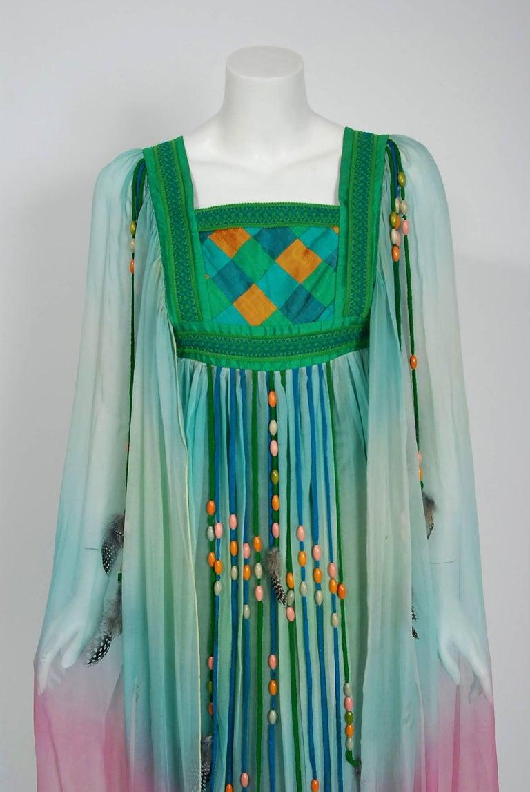 Women's 1975 Gina Fratini Elizabeth Taylor Wedding Ombre Design Chiffon Bohemian Dress