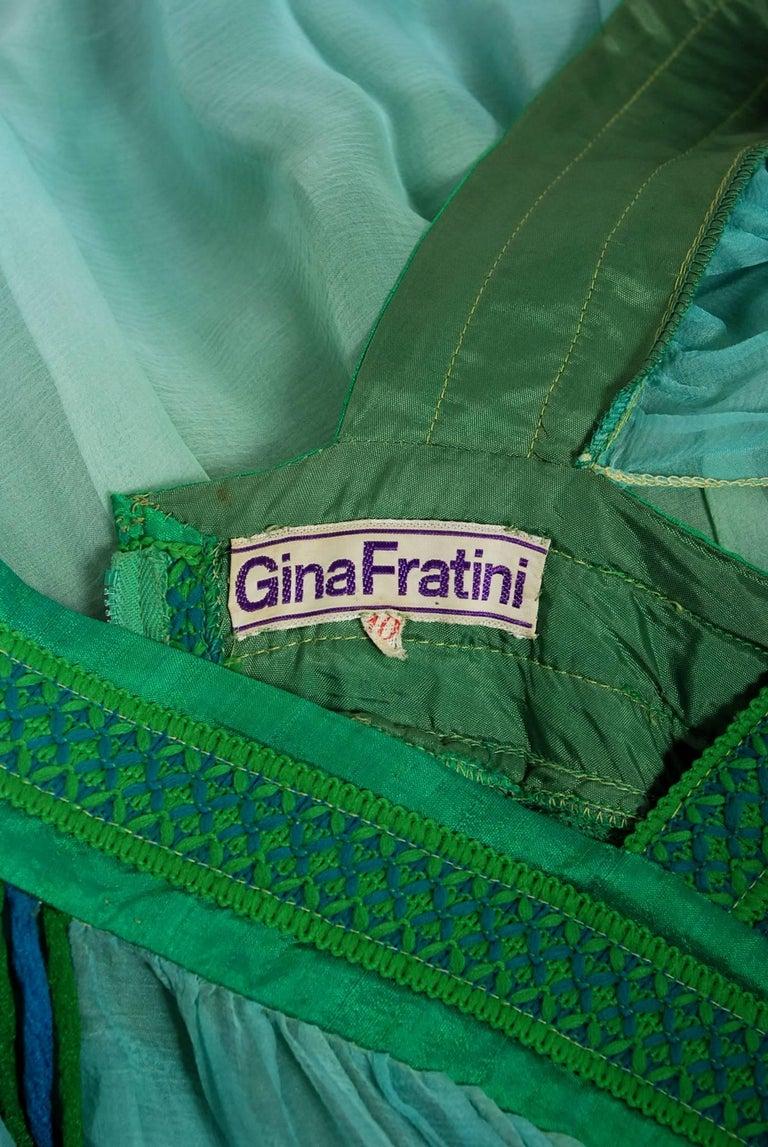 1975 Gina Fratini Elizabeth Taylor Wedding Ombre Design Chiffon Bohemian Dress 5