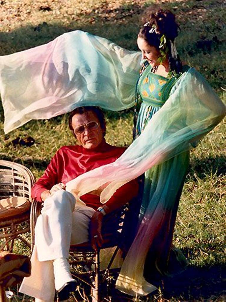 Gray 1975 Gina Fratini Elizabeth Taylor Wedding Ombre Design Chiffon Bohemian Dress