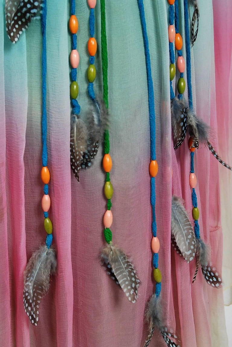 1975 Gina Fratini Elizabeth Taylor Wedding Ombre Design Chiffon Bohemian Dress 2