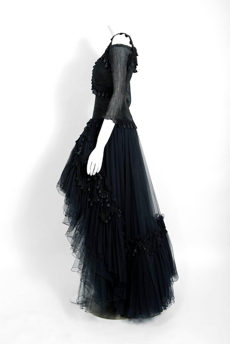 Zandra Rhodes Black Tulle Tassel Fringe Bare Shoulder High-Low ...