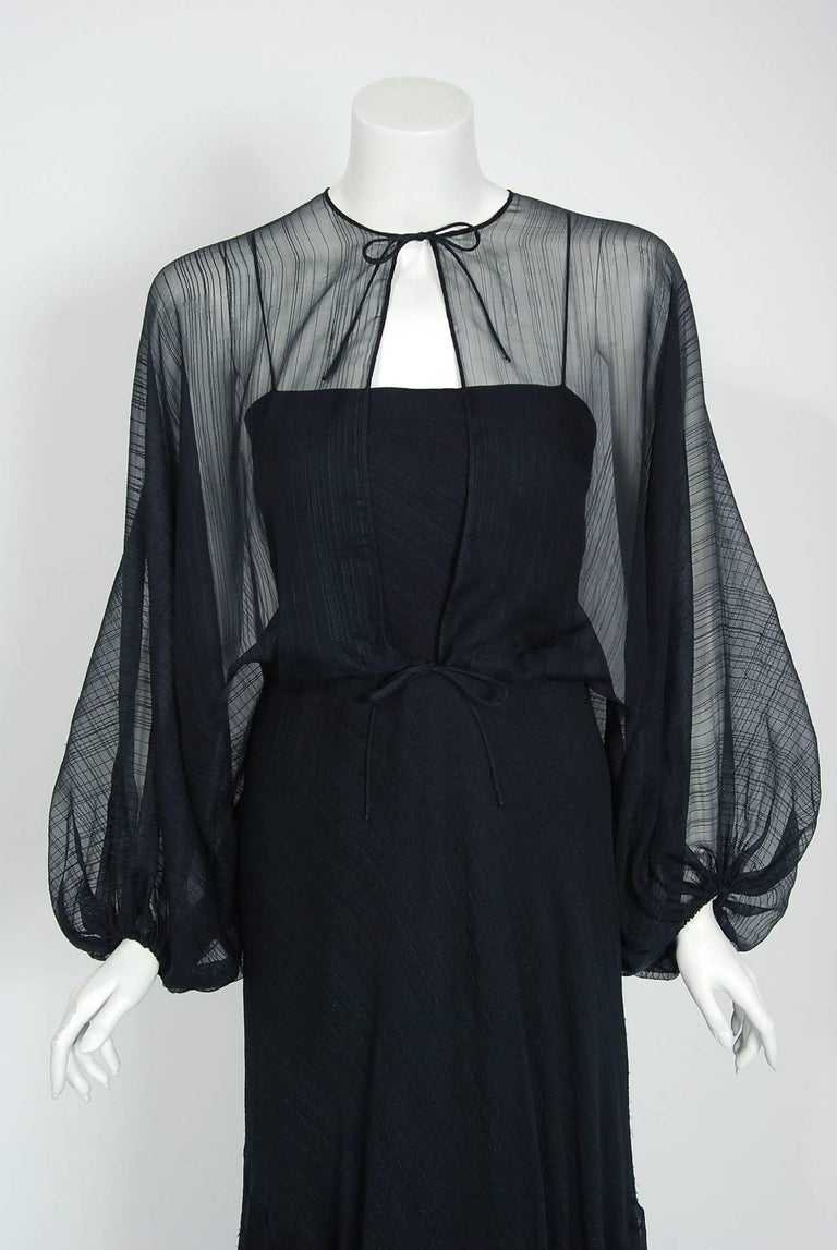 1976 Stavropoulos Black Textured Silk Carwash Gown And