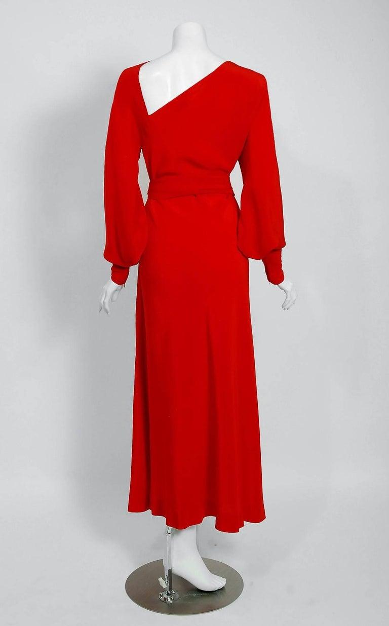 1977 Halston Couture Red Silk Asymmetric Billow Sleeve