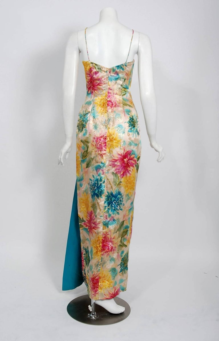 Women's 1950's Ceil Chapman Metallic Floral Print Silk-Brocade Draped Hourglass Gown For Sale