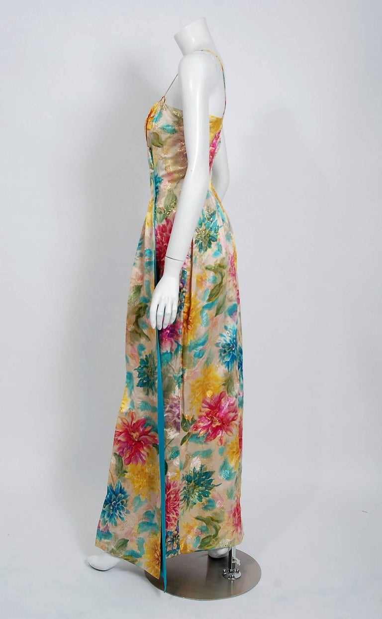 1950's Ceil Chapman Metallic Floral Print Silk-Brocade Draped Hourglass Gown In Excellent Condition For Sale In Beverly Hills, CA