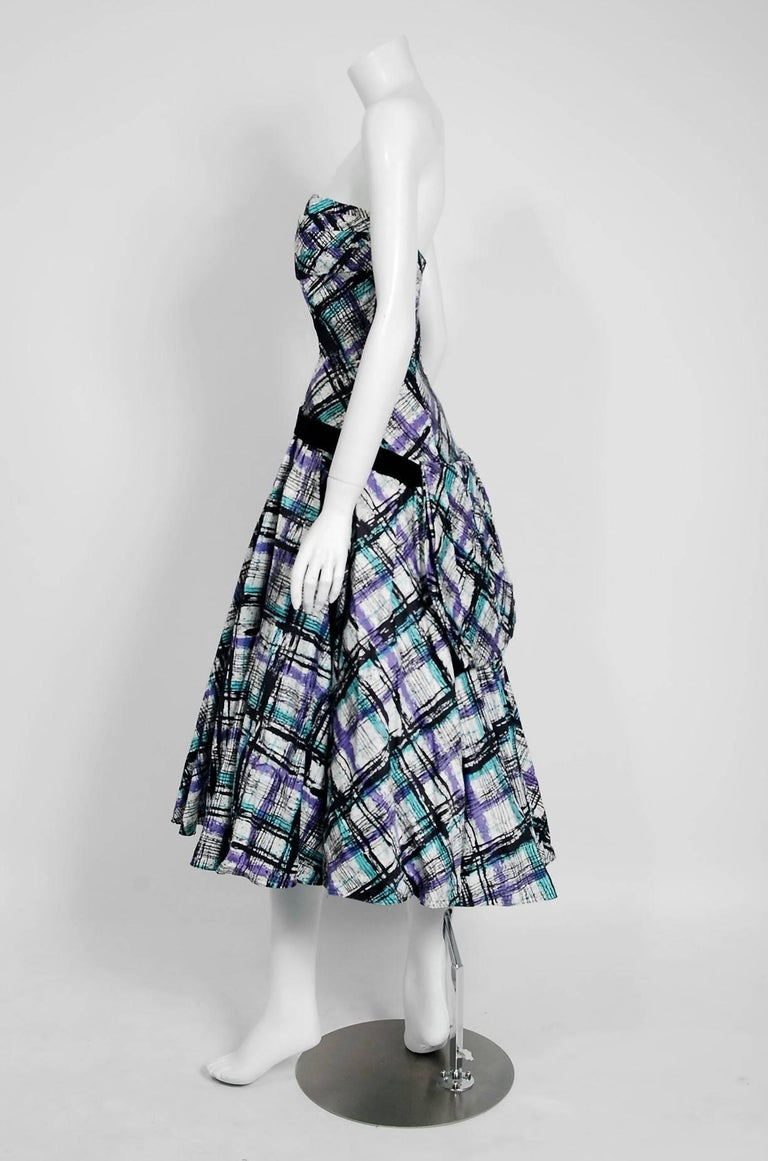 Vintage 1950's Plaid Print Cotton Strapless Shelf-Bust Bustle Dress and Shawl In Good Condition For Sale In Beverly Hills, CA