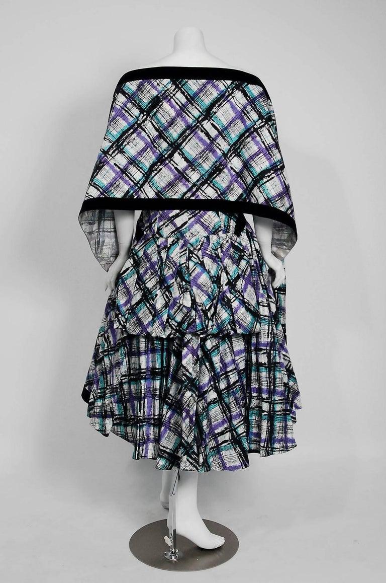 Vintage 1950's Plaid Print Cotton Strapless Shelf-Bust Bustle Dress and Shawl For Sale 2