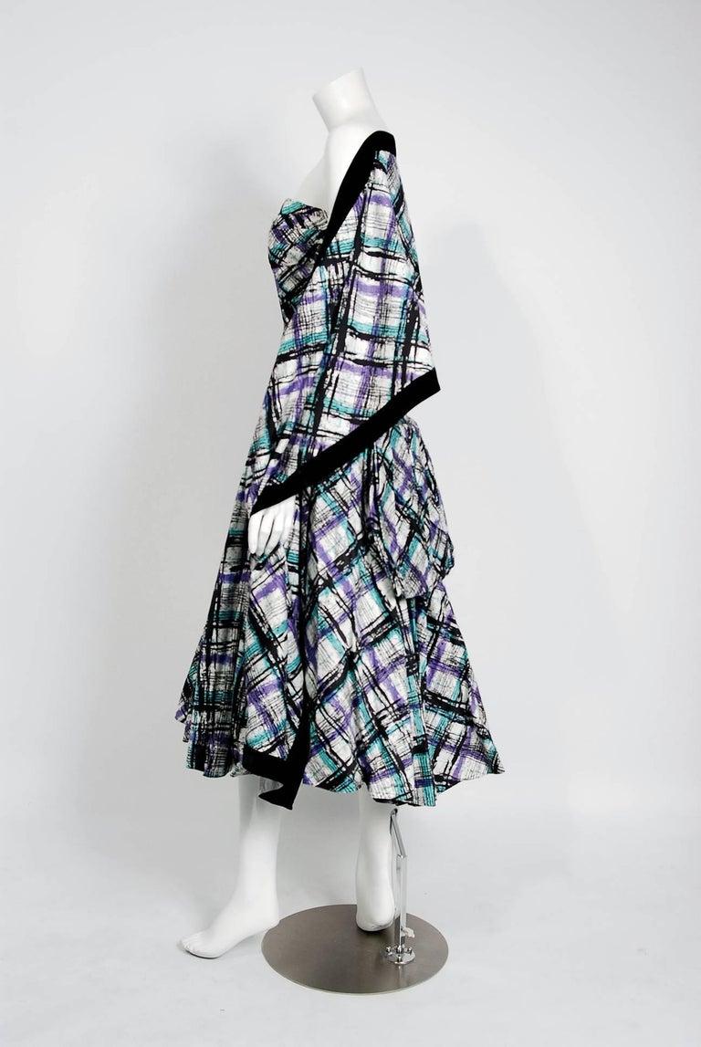 Vintage 1950's Plaid Print Cotton Strapless Shelf-Bust Bustle Dress and Shawl For Sale 1