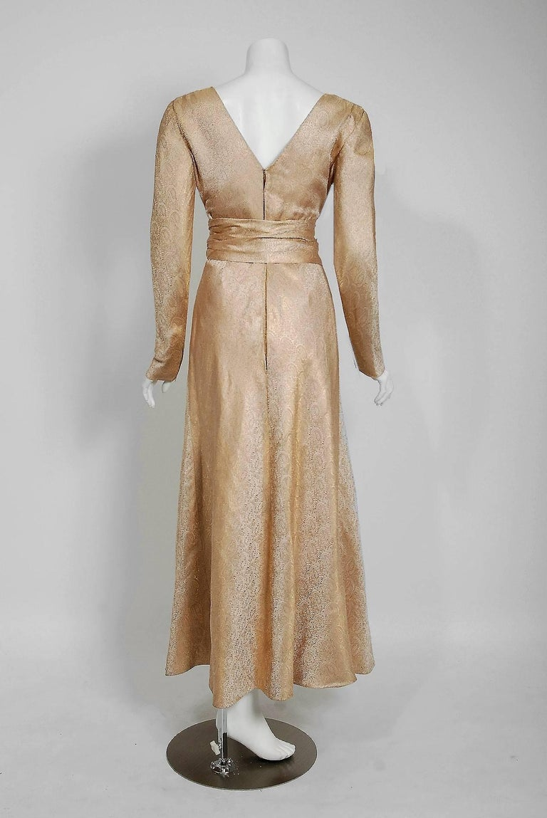 Vintage 1977 Givenchy Haute-Couture Metallic Gold Silk Long-Sleeve Plunge Gown For Sale 1