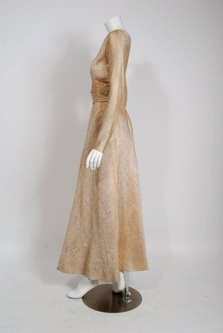 Women's Vintage 1977 Givenchy Haute-Couture Metallic Gold Silk Long-Sleeve Plunge Gown For Sale
