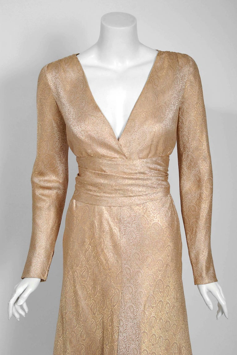 Brown Vintage 1977 Givenchy Haute-Couture Metallic Gold Silk Long-Sleeve Plunge Gown For Sale