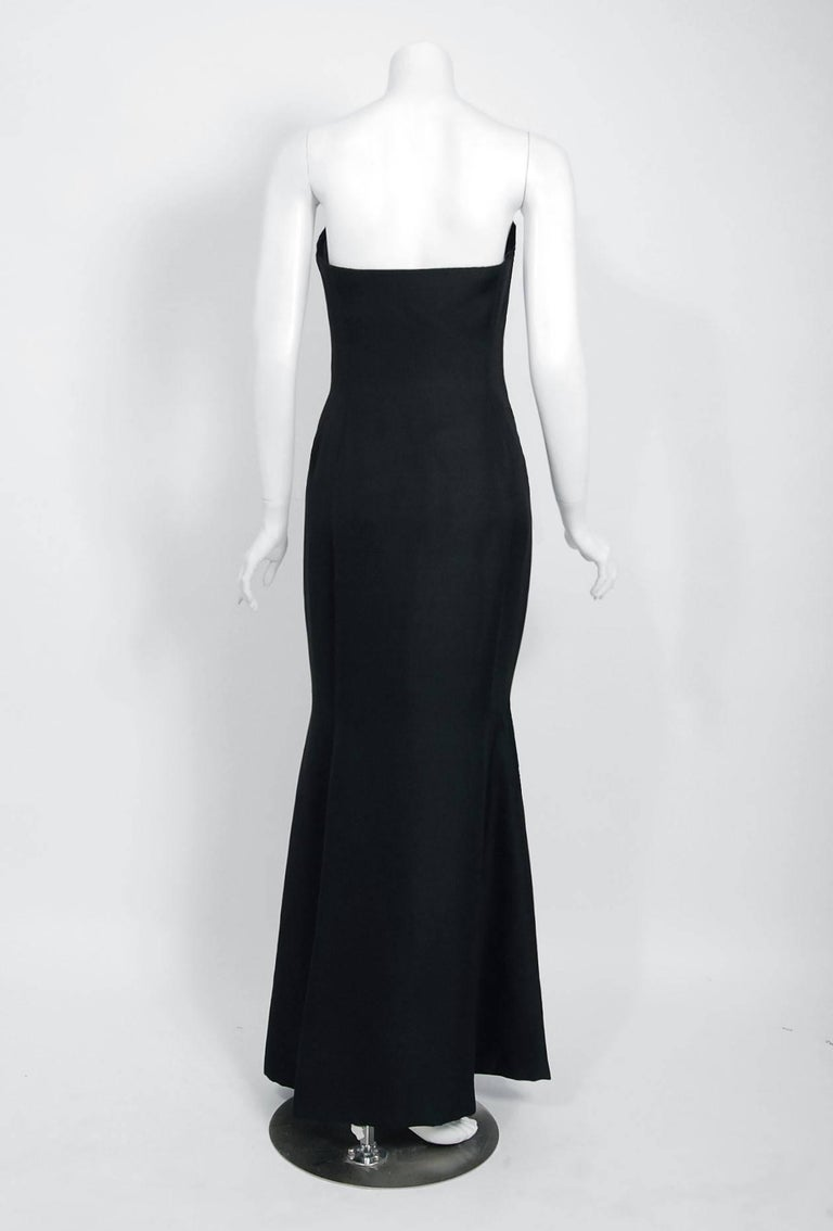 1979 Givenchy Haute-Couture Black Silk Linen Strapless Hourglass Mermaid Gown  2