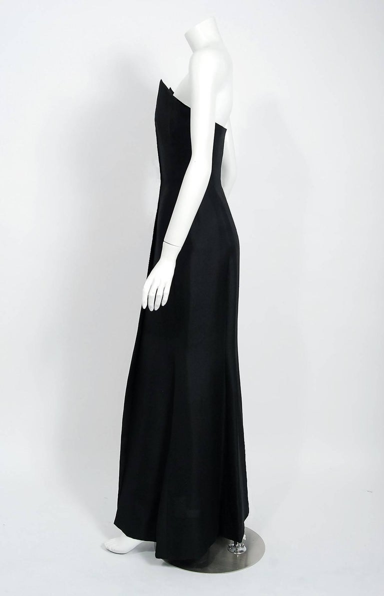 1979 Givenchy Haute-Couture Black Silk Linen Strapless Hourglass Mermaid Gown  1