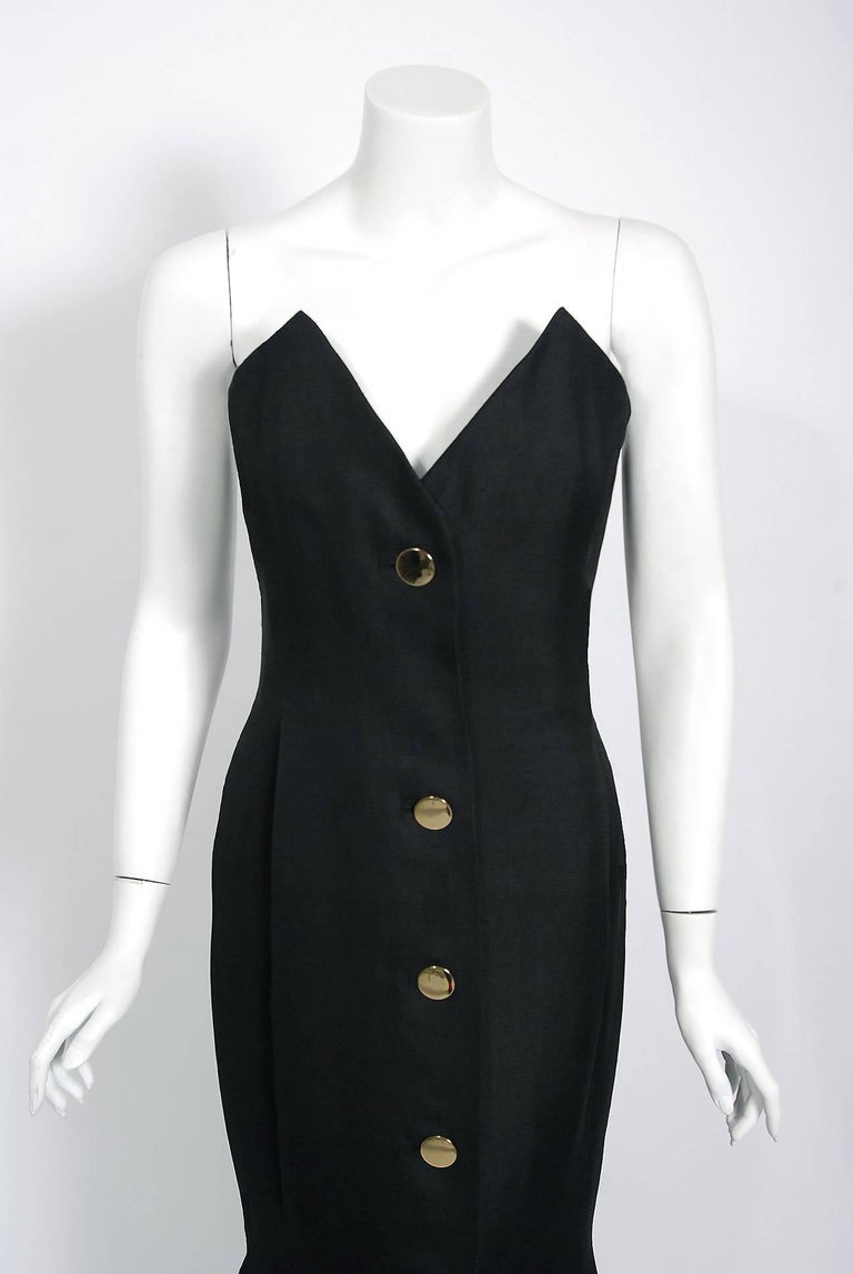 1979 Givenchy Haute-Couture Black Silk Linen Strapless Hourglass Mermaid Gown  In Good Condition In Beverly Hills, CA