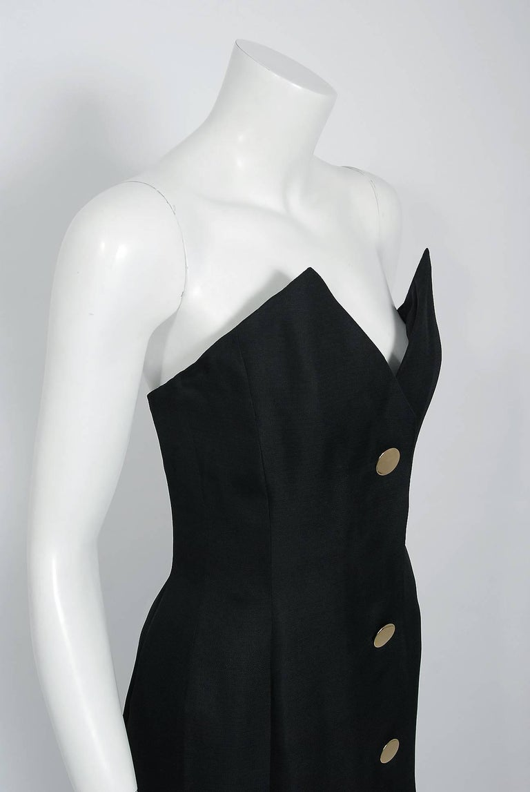 Women's 1979 Givenchy Haute-Couture Black Silk Linen Strapless Hourglass Mermaid Gown