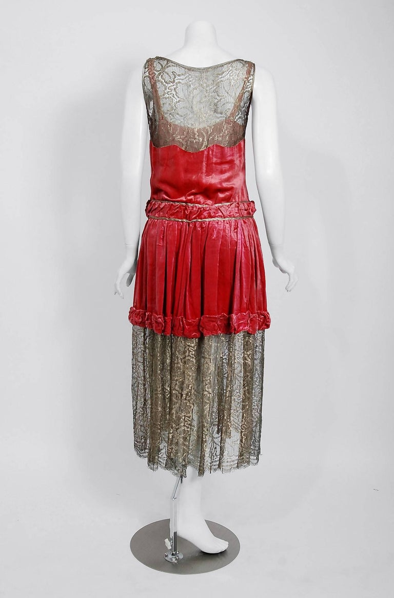 1920's Bedell Couture Magenta Velvet Metallic Gold Lace Art Deco Flapper Dress For Sale 1