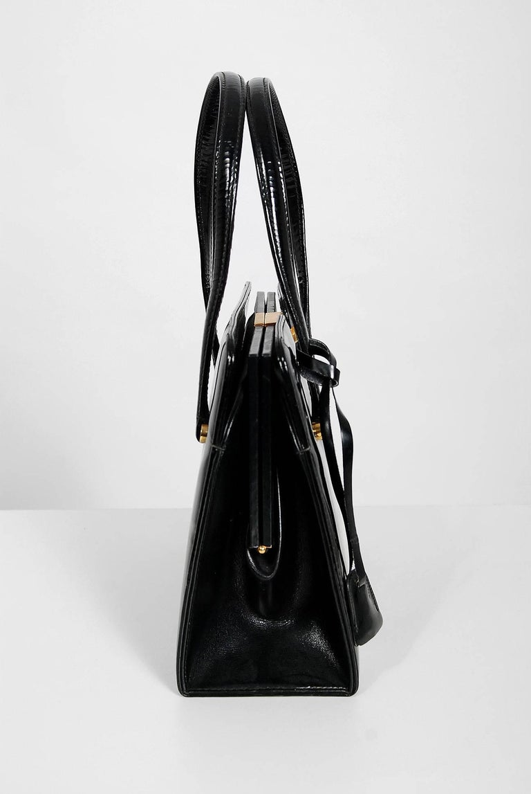 1960 S Gucci Rare Black Patent Leather Lock And Key