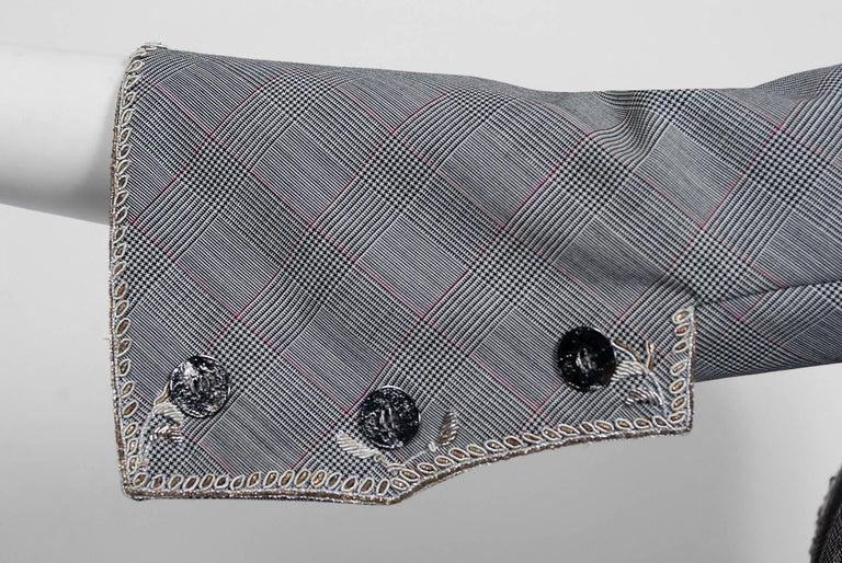 Women's Alexander McQueen Embroidered Metallic Bullton Victorian Tails Coat Jacket, 2002 For Sale