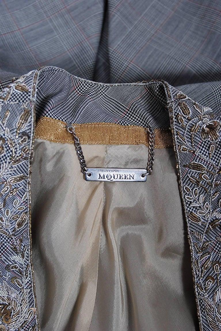 Alexander McQueen Embroidered Metallic Bullton Victorian Tails Coat Jacket, 2002 For Sale 2