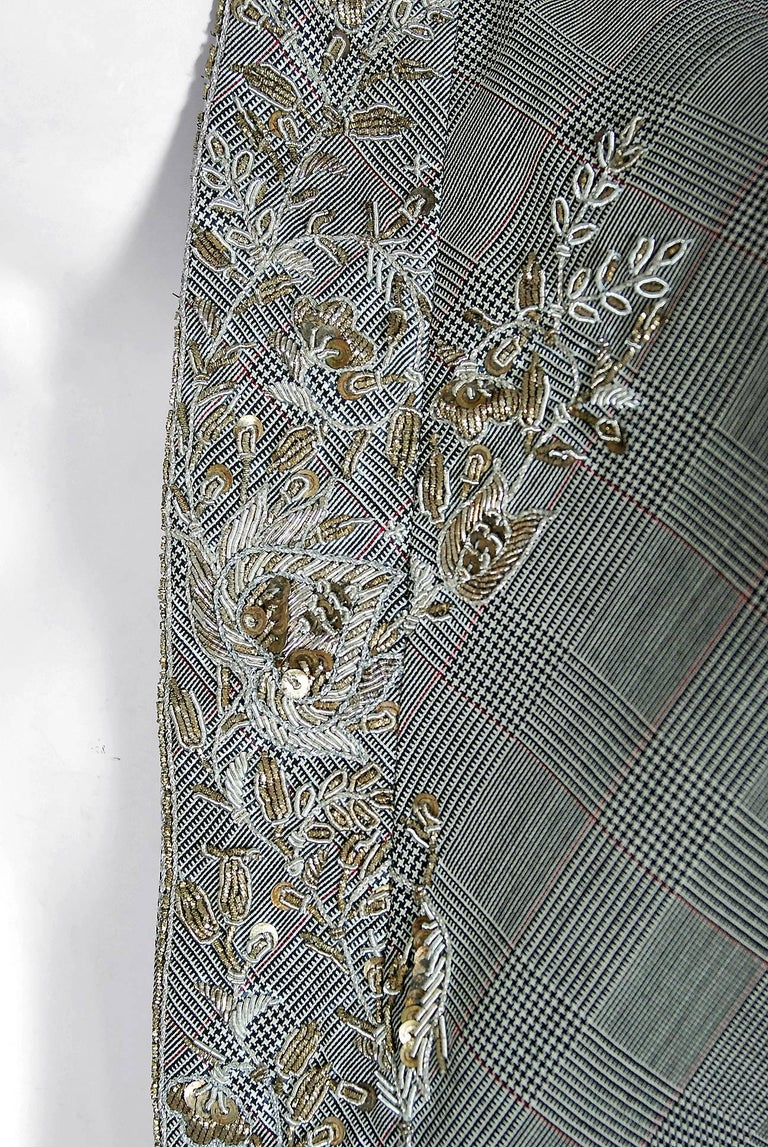 Alexander McQueen Embroidered Metallic Bullton Victorian Tails Coat Jacket, 2002 In Excellent Condition For Sale In Beverly Hills, CA