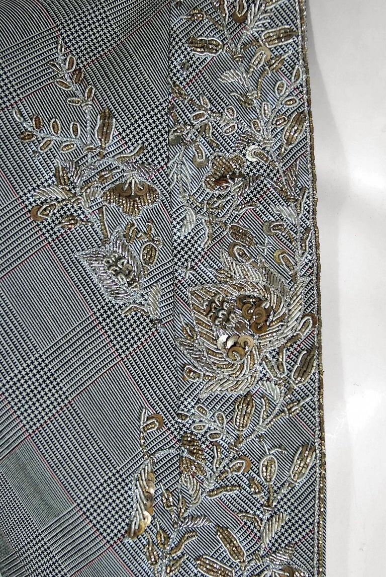 Gray Alexander McQueen Embroidered Metallic Bullton Victorian Tails Coat Jacket, 2002 For Sale