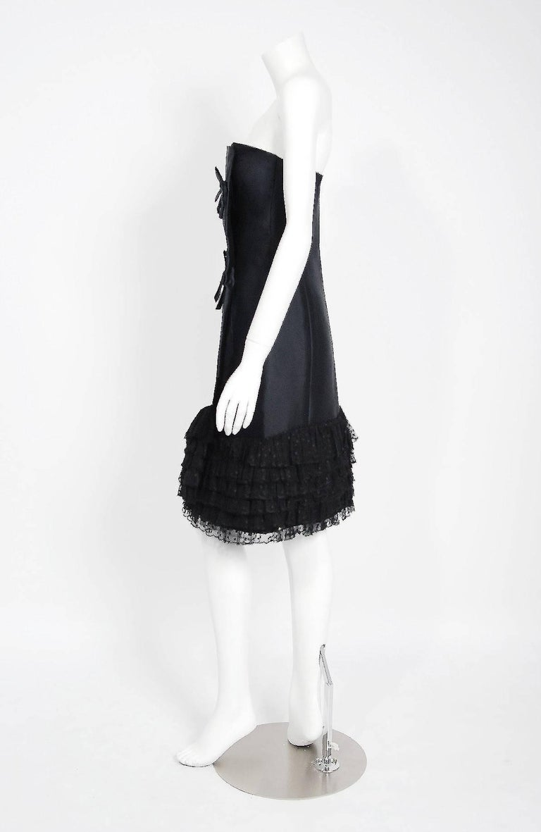 Women's 1960 Christian Dior Black Silk & Dotted Tulle Strapless Bow Cocktail Party Dress For Sale