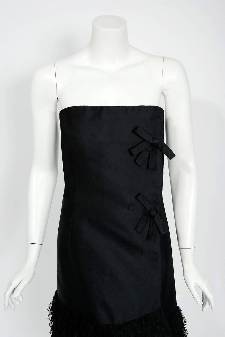 "A timeless ""Little Black Dress"" created when Yves Saint Laurent was head designer at Christian Dior. Here is a rare opportunity to own a breathtaking 1960 Christian Dior dress designed by Yves Saint Laurent in France, for the American"