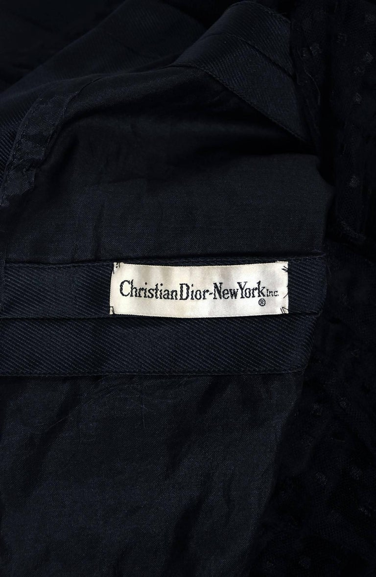 1960 Christian Dior Black Silk & Dotted Tulle Strapless Bow Cocktail Party Dress For Sale 3