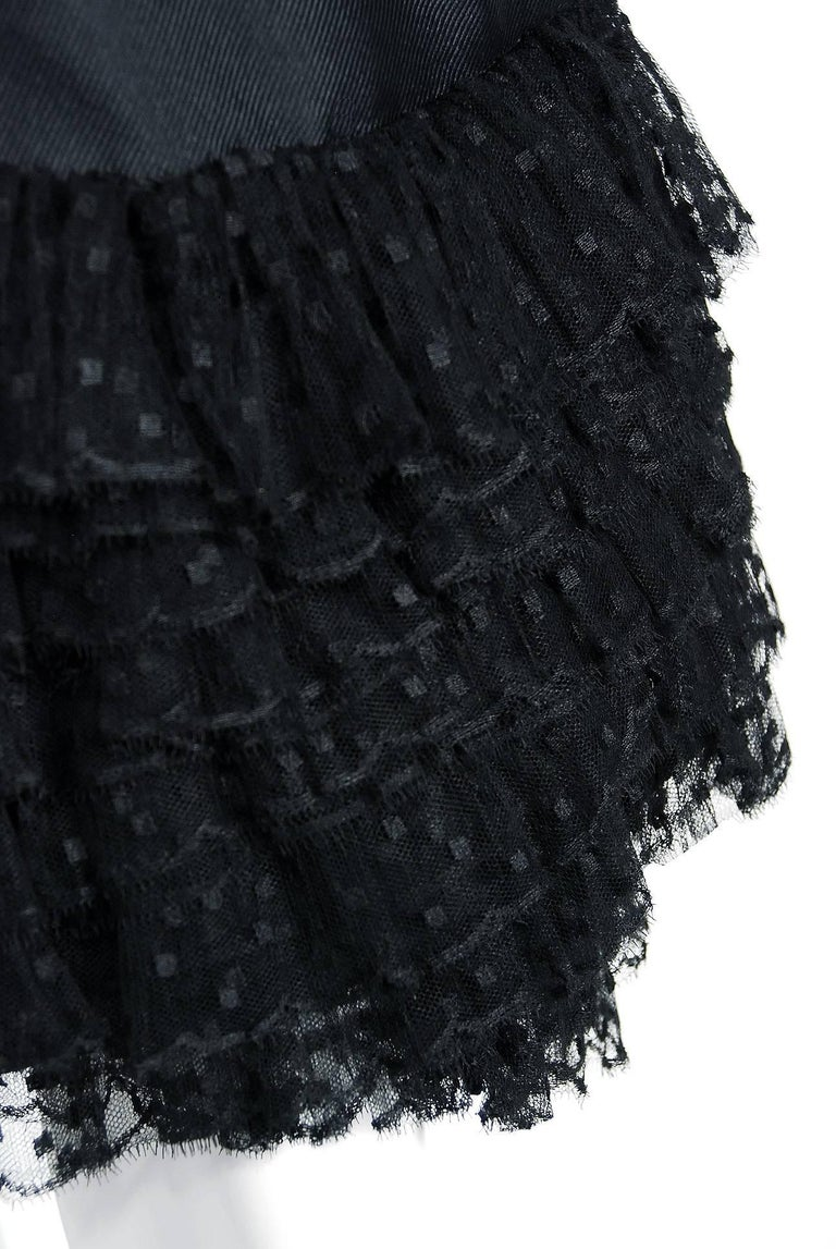 1960 Christian Dior Black Silk & Dotted Tulle Strapless Bow Cocktail Party Dress For Sale 1