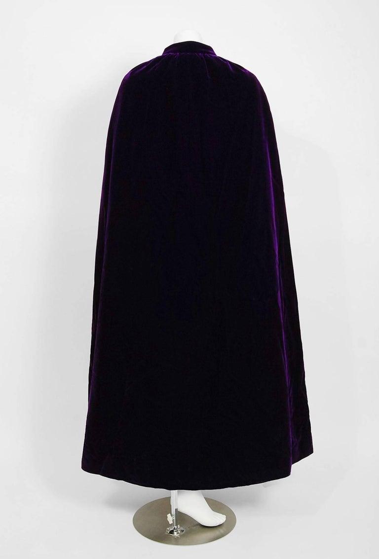 Vintage 1970 Pierre Balmain Haute Couture Purple Velvet Gown & Full-Length Cape For Sale 1