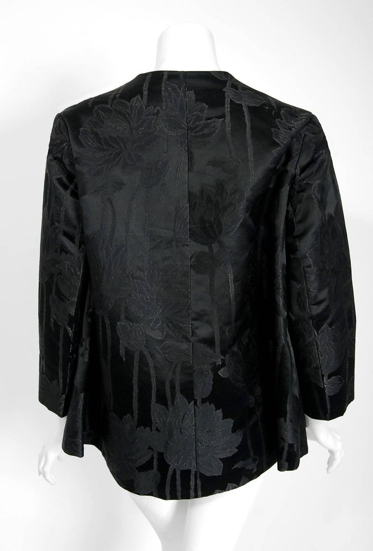 Vintage 1953 Christian Dior Haute-Couture Floral Silk Brocade Winged Jacket For Sale 1