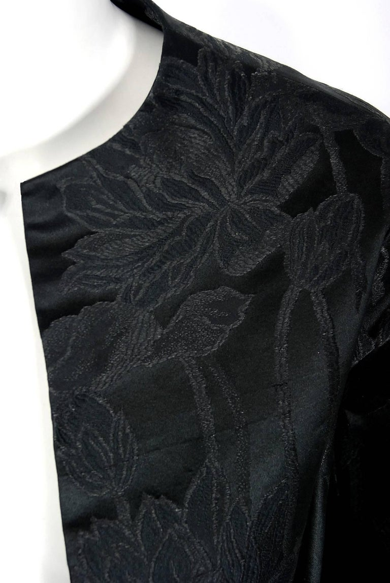 Black Vintage 1953 Christian Dior Haute-Couture Floral Silk Brocade Winged Jacket For Sale