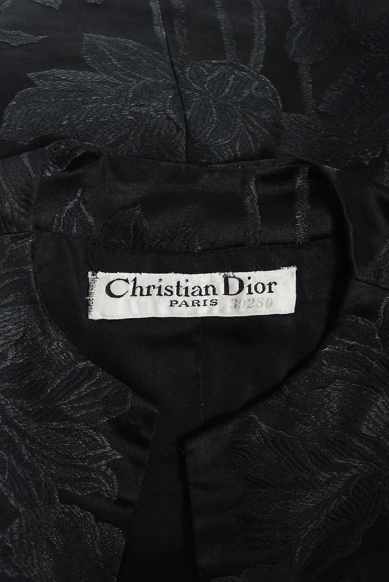 Vintage 1953 Christian Dior Haute-Couture Floral Silk Brocade Winged Jacket For Sale 2