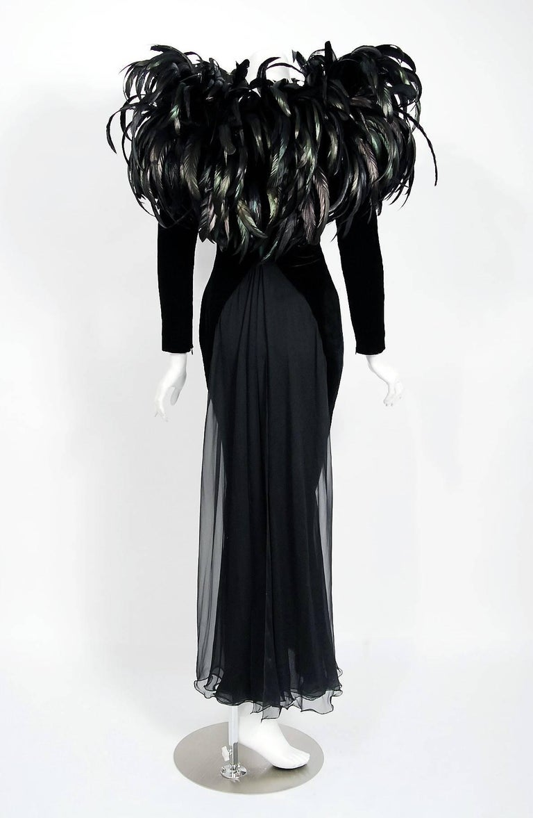 1990 Christian Dior Haute-Couture Black Velvet Feather Hourglass Fishtail Gown For Sale 1