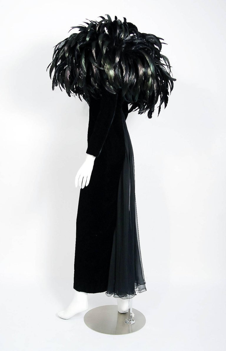 Women's 1990 Christian Dior Haute-Couture Black Velvet Feather Hourglass Fishtail Gown For Sale