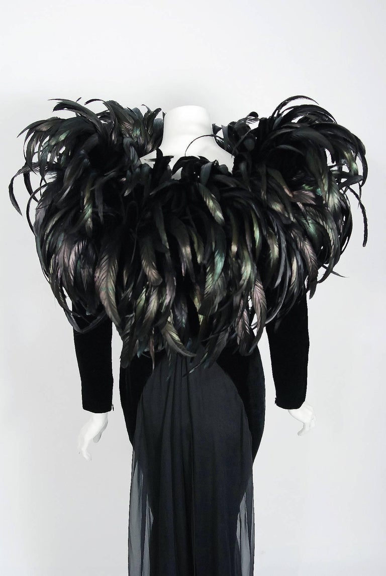 1990 Christian Dior Haute-Couture Black Velvet Feather Hourglass Fishtail Gown For Sale 2