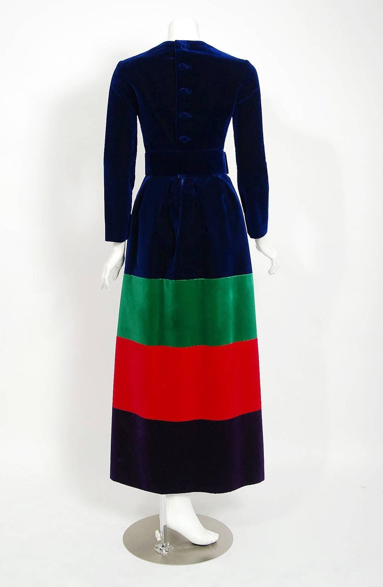 Women's 1964 Nina Ricci Couture Silk-Velvet Rainbow Stripe Block Color Belted Maxi Dress For Sale