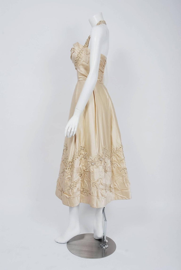 Women's 1950's Ceil Chapman Ivory Beaded Floral Applique Silk Satin Halter Party Dress   For Sale