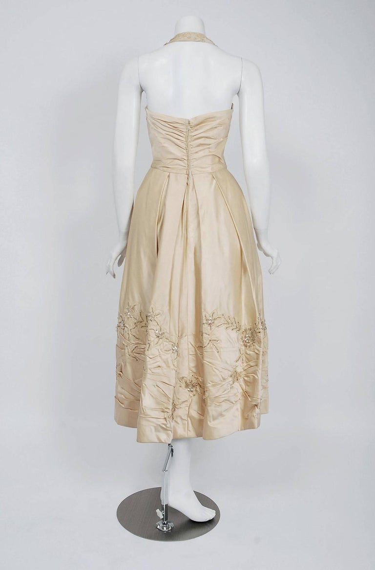 1950's Ceil Chapman Ivory Beaded Floral Applique Silk Satin Halter Party Dress   For Sale 1