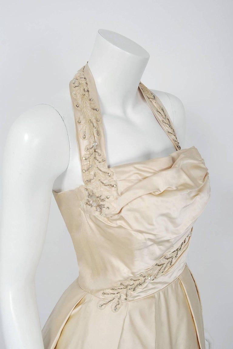Beige 1950's Ceil Chapman Ivory Beaded Floral Applique Silk Satin Halter Party Dress   For Sale