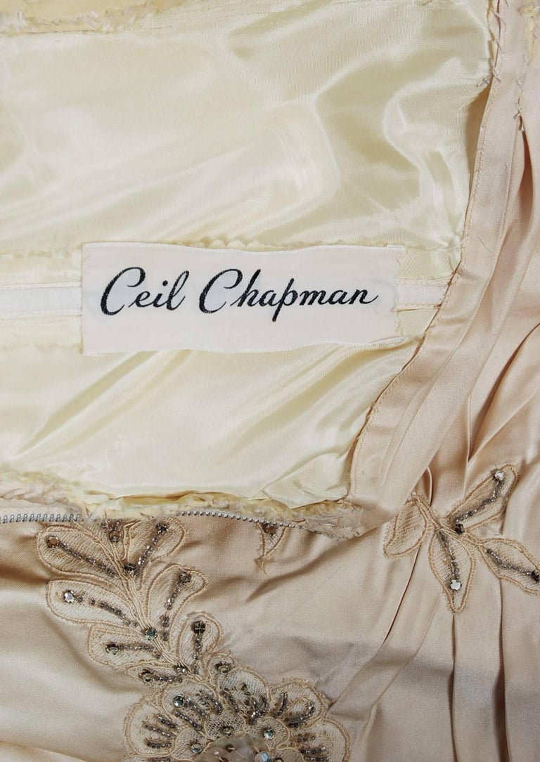 1950's Ceil Chapman Ivory Beaded Floral Applique Silk Satin Halter Party Dress   For Sale 2