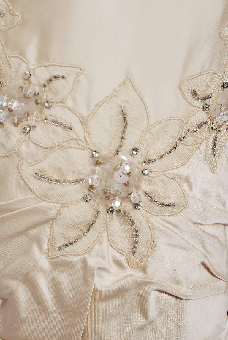 1950's Ceil Chapman Ivory Beaded Floral Applique Silk Satin Halter Party Dress   In Excellent Condition For Sale In Beverly Hills, CA