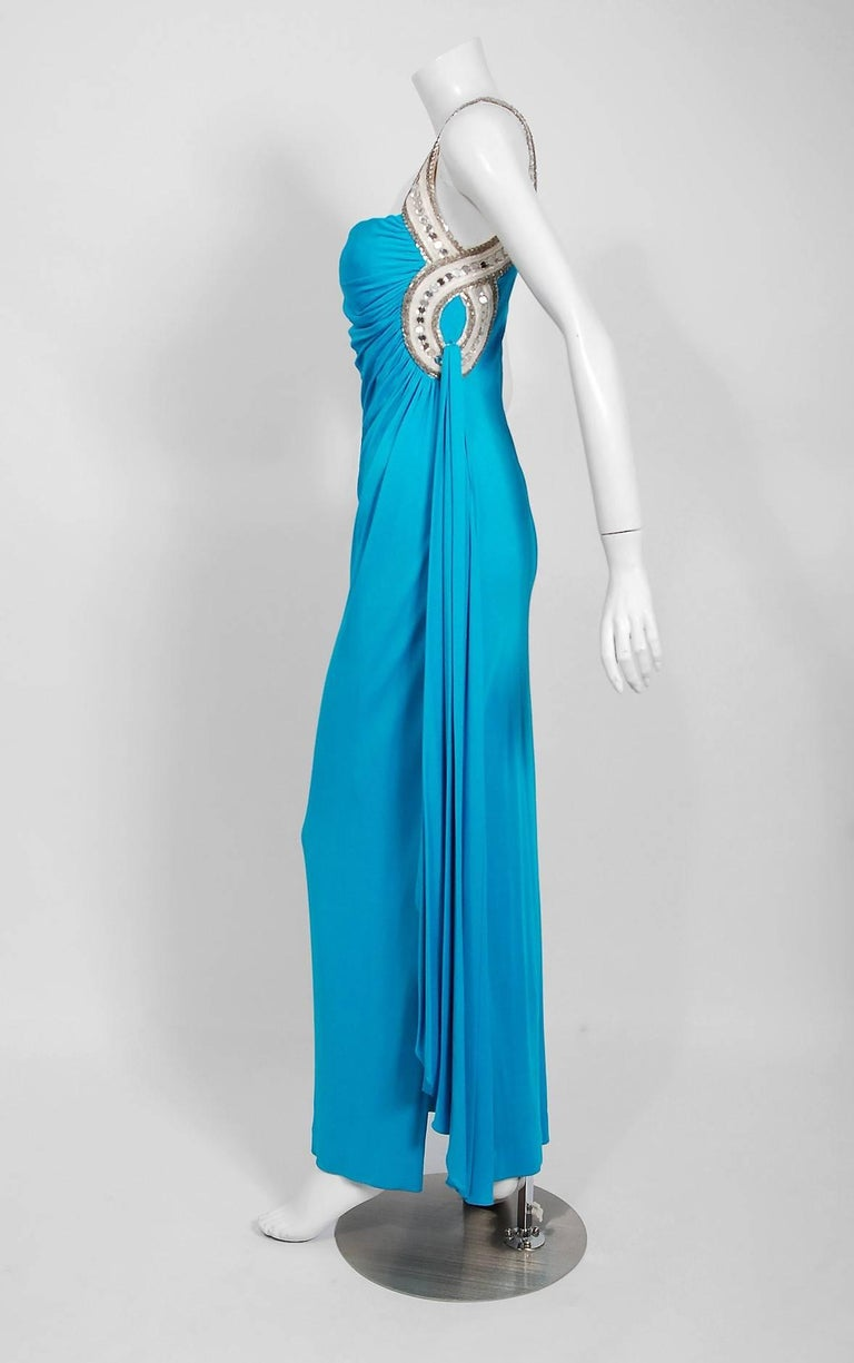 1986 Travilla Couture Whitney Houston Design Blue Beaded One-Shoulder Silk Gown For Sale 3