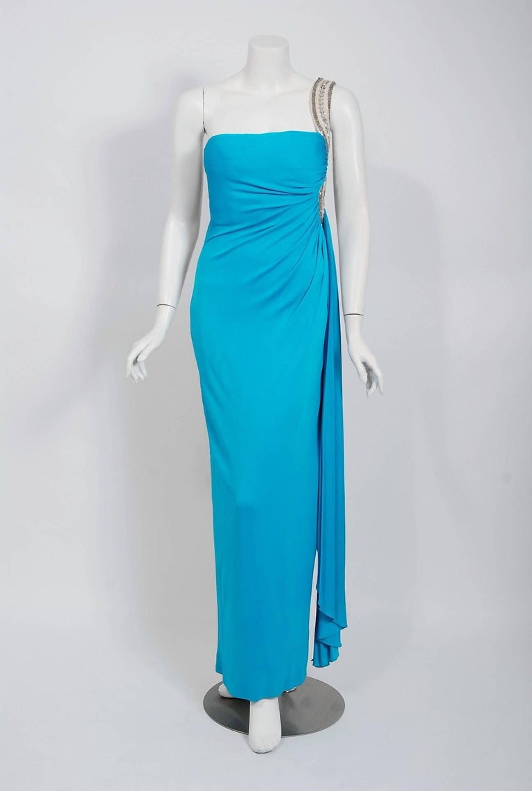 1986 Travilla Couture Whitney Houston Design Blue Beaded One-Shoulder Silk Gown In Good Condition For Sale In Beverly Hills, CA