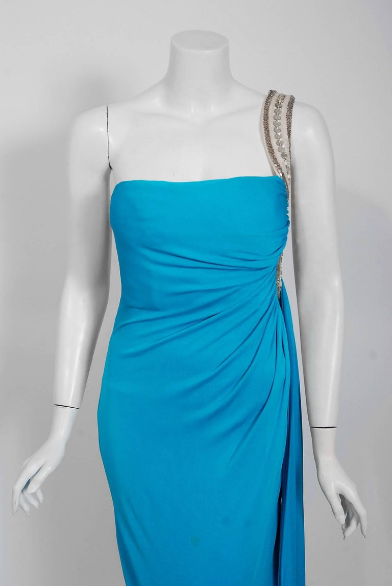 Women's 1986 Travilla Couture Whitney Houston Design Blue Beaded One-Shoulder Silk Gown For Sale